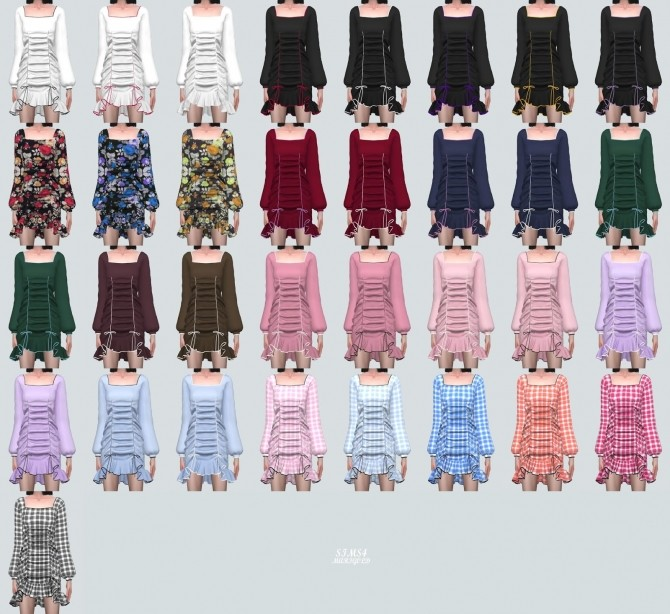 Square Neck Shirring Frill Mini Dress (P) at Marigold image 11020 670x614 Sims 4 Updates