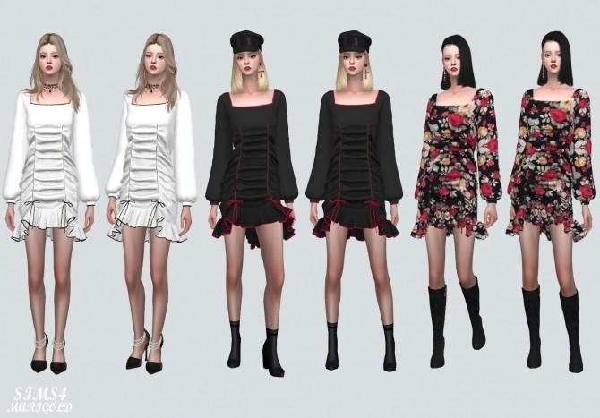 Sims 4 Square Neck Shirring Frill Mini Dress (P) at Marigold