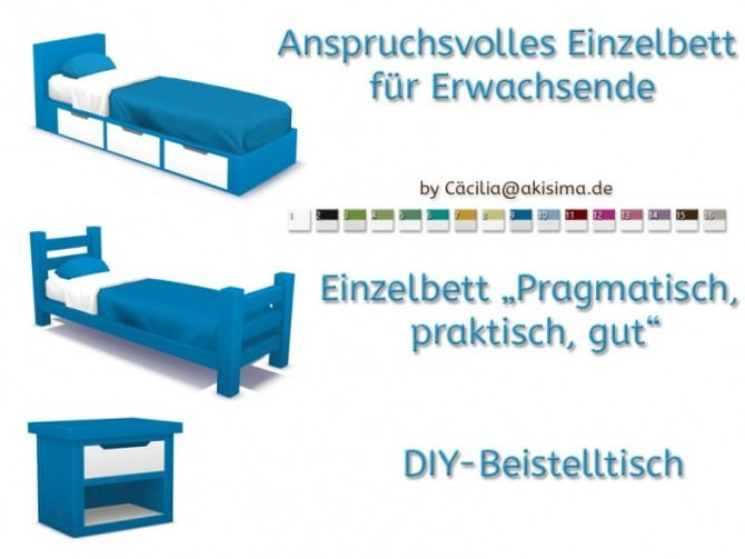 Sims 4 Discover University Single bed set recolors by Cacilia at Akisima