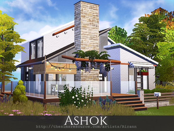 Sims 4 Ashok contemporary cottage by Rirann at TSR