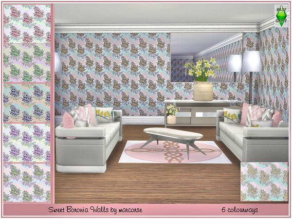 Sims 4 Sweet Boronia Walls by marcorse at TSR