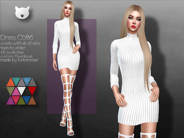 Sims 4 Dress C086 by turksimmer at TSR