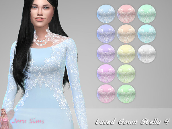 Sims 4 Laced Gown Stella 4 by Jaru Sims at TSR
