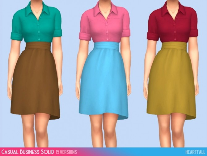 Sims 4 Casual business outfit solid & patterned at Heartfall