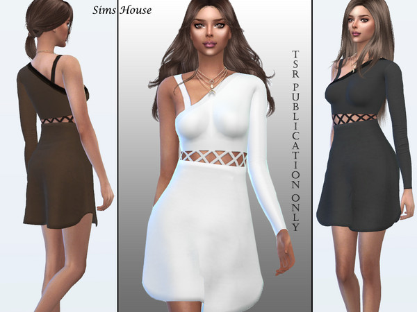 Sims 4 Short dress with asymmetric sleeve by Sims House at TSR