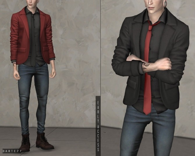 Blazer with Tie Shirt (P) at Darte77 image 12611 670x536 Sims 4 Updates