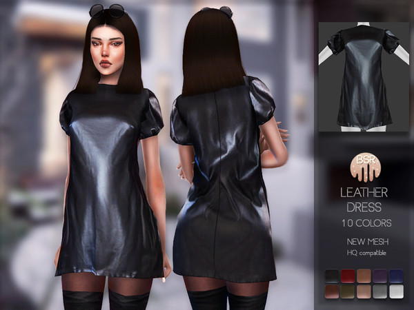 Sims 4 Leather Dress BD145 by busra tr at TSR