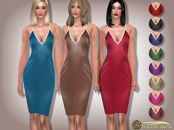 Sims 4 Diamante Strap Satin Pencil Dress by Harmonia at TSR