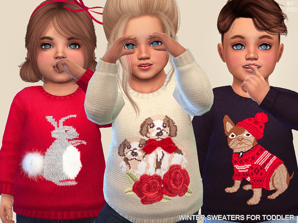 Sims 4 Winter Sweaters For Toddlers by Pinkzombiecupcakes at TSR