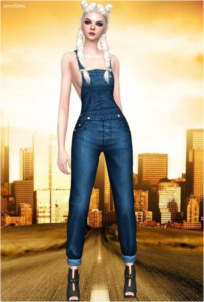 Sims 4 Denim overall BG at Jenni Sims
