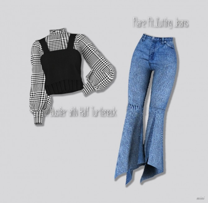 Knit Bustier with Half Turtleneck & Flare Fit Cutting Jeans at MINI SIMS image 1443 670x654 Sims 4 Updates