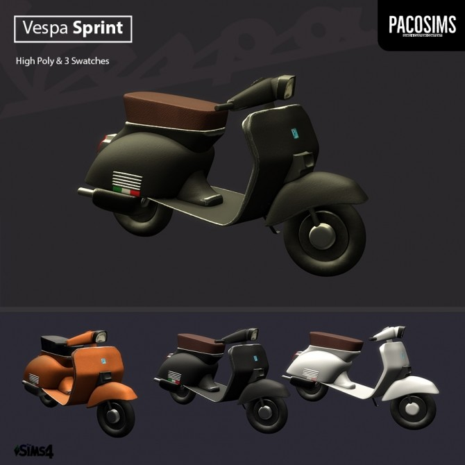 Sims 4 Vespa Sprint Scooter deco (P) at Paco Sims