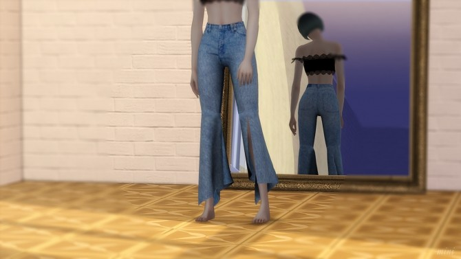 Knit Bustier with Half Turtleneck & Flare Fit Cutting Jeans at MINI SIMS image 1474 670x377 Sims 4 Updates