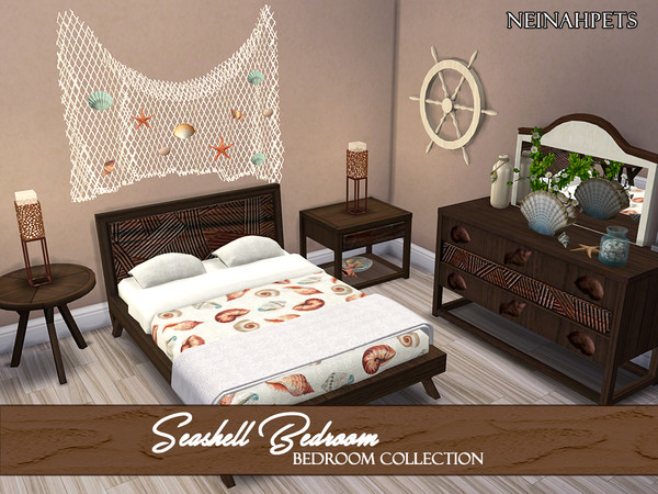 Seashell Bedroom Collection by neinahpets at TSR image 1480 Sims 4 Updates