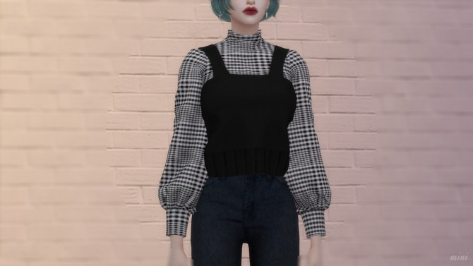 Sims 4 Knit Bustier with Half Turtleneck & Flare Fit Cutting Jeans at MINI SIMS
