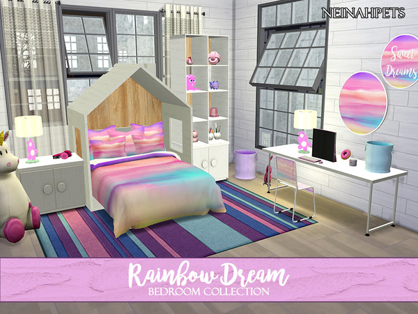 Sims 4 Rainbow Dreams Bedroom Collection by neinahpets at TSR
