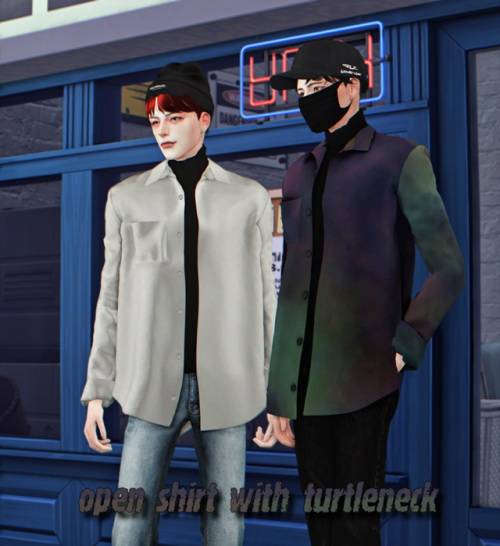 Open shirt with turtleneck at Lemon Sims 4 image 1626 Sims 4 Updates