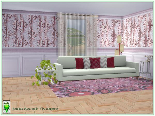 Sims 4 Bamboo Moon Walls by marcorse at TSR