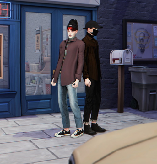 Sims 4 Open shirt with turtleneck at Lemon Sims 4
