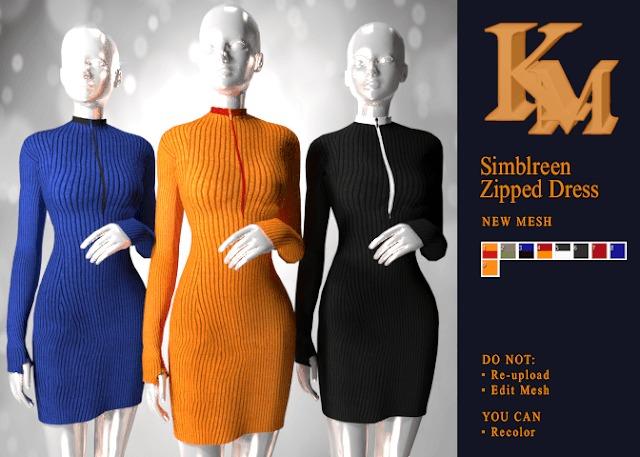 Sims 4 Simblreem Zipped Dress at KM