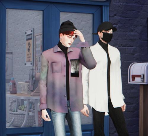 Open shirt with turtleneck at Lemon Sims 4 image 1655 Sims 4 Updates