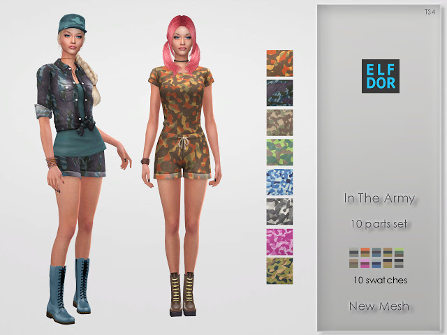 Sims 4 In The Army Clothes Set at Elfdor Sims