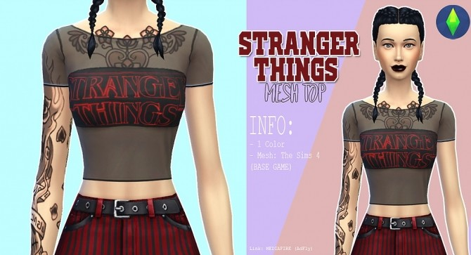 Sims 4 Stanger things mesh top at Kass