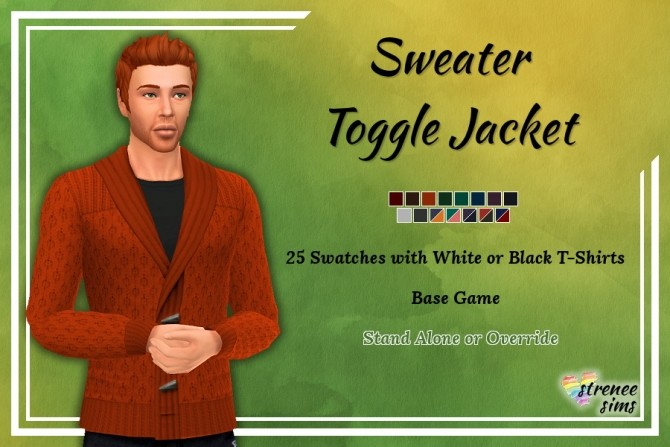 Sims 4 Sweater Toggle Jacket at Strenee Sims