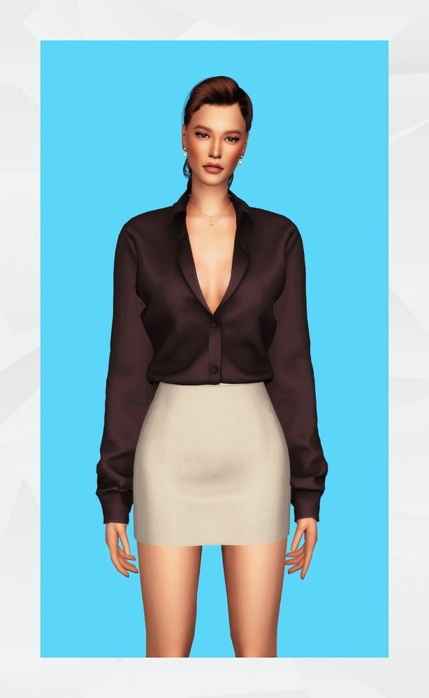 Sims 4 Oversized Shirt AF (Tucked in) & Basic Skirt at Gorilla