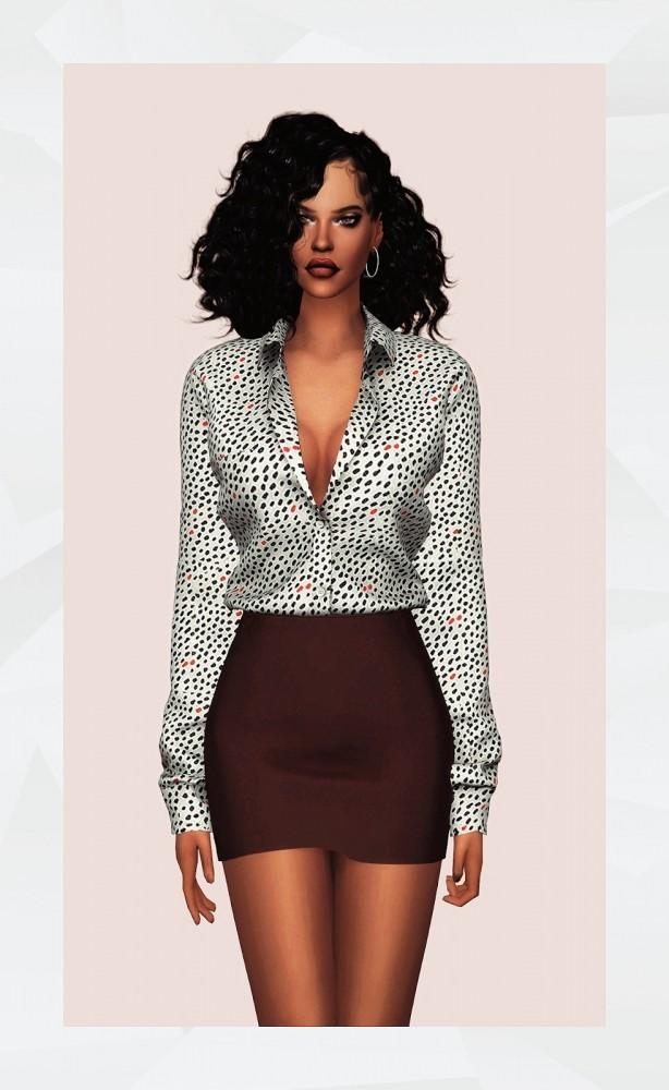 Oversized Shirt AF (Tucked in) & Basic Skirt at Gorilla image 1775 614x1000 Sims 4 Updates