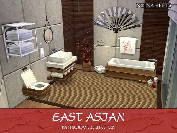 Sims 4 East Asian Bathroom Collection by neinahpets at TSR