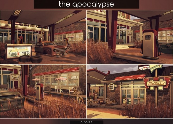 Sims 4 The Apocalypse lot by Praline at Cross Design