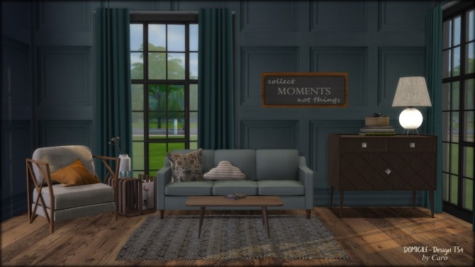 Sims 4 November Days chair, pillows, sofa, sign, rug & lamp at DOMICILE Design TS4
