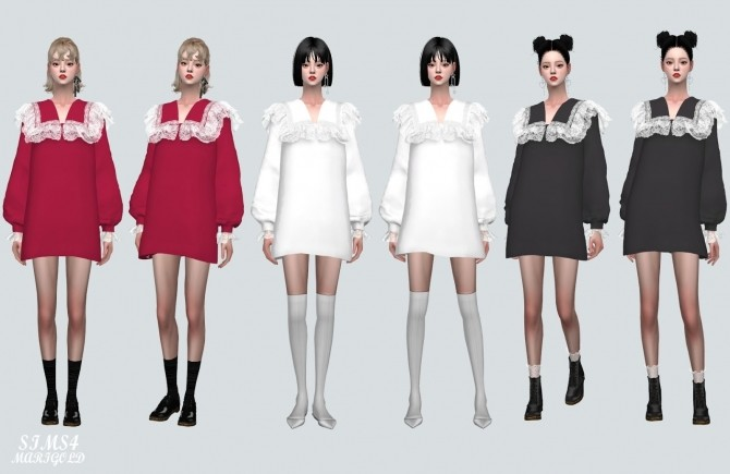 Sims 4 Lovely Frill Lace Blouse mini Dress at Marigold