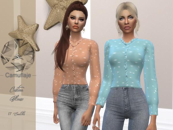 Sims 4 Cristina blouse by Camuflaje at TSR