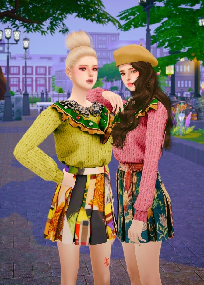 Sims 4 Knit & Pleats skirt twopiece at RIMINGs
