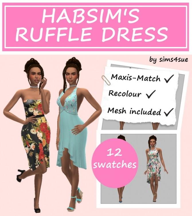 Sims 4 HABSIM'S RUFFLE DRESS at Sims4Sue