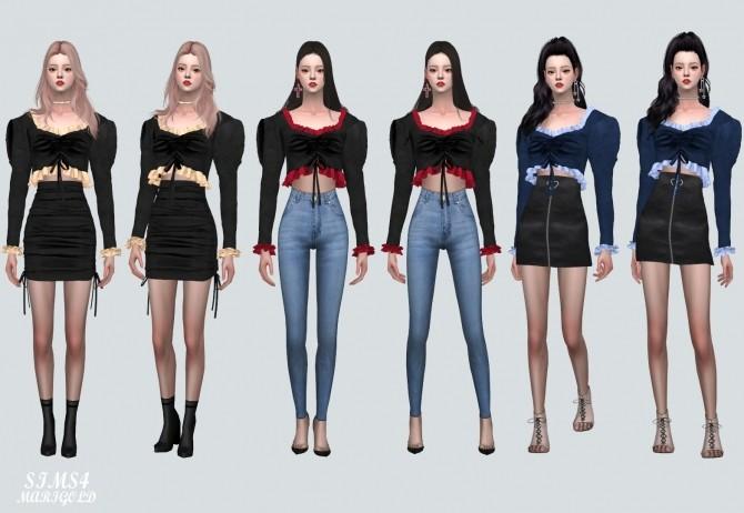 Sims 4 Velvet Shirring Frill Blouse at Marigold