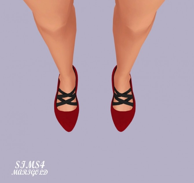 Basic Flat Shoes With X Strap at Marigold image 21510 670x633 Sims 4 Updates