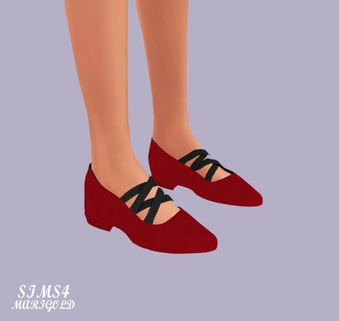 Basic Flat Shoes With X Strap at Marigold image 2167 670x633 Sims 4 Updates