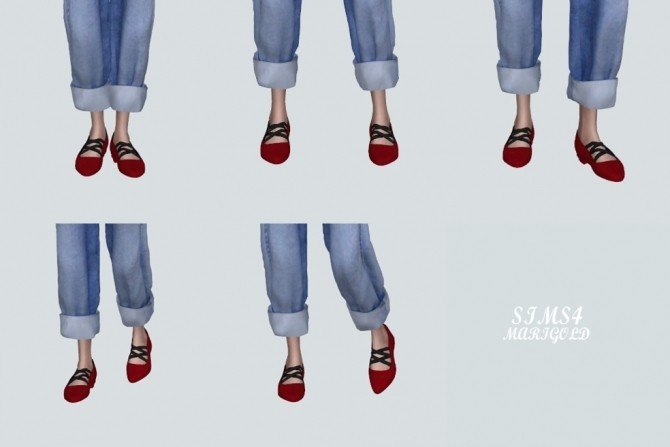 Basic Flat Shoes With X Strap at Marigold image 2187 670x447 Sims 4 Updates