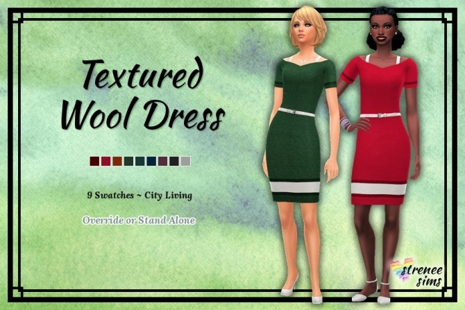 Sims 4 Textured Wool Dress by Stacy at Strenee Sims