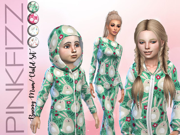 Sims 4 Bunny Mum/Child Set by Pinkfizzzzz at TSR