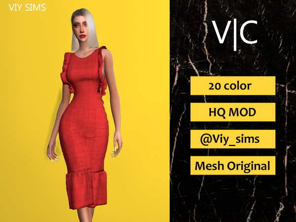 Sims 4 Dress III by Viy Sims at TSR