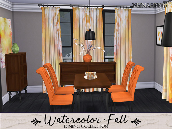 Watercolor Fall Dining Collection by neinahpets at TSR image 2520 Sims 4 Updates