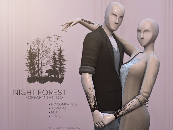 Sims 4 Night Forest tattoo by sugar owl at TSR