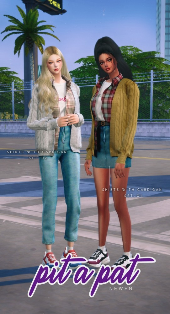 Shirt With Cardigan sets at NEWEN image 2582 542x1000 Sims 4 Updates