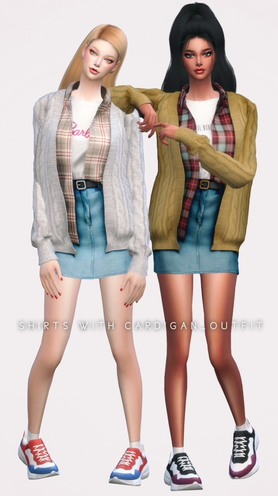 Shirt With Cardigan sets at NEWEN image 2592 560x1000 Sims 4 Updates