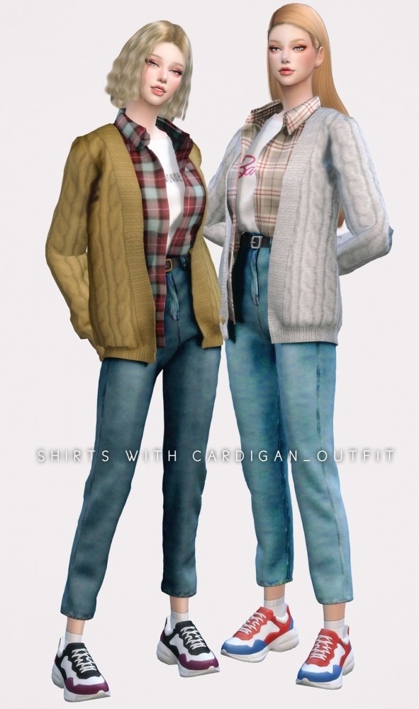Shirt With Cardigan sets at NEWEN image 2602 591x1000 Sims 4 Updates