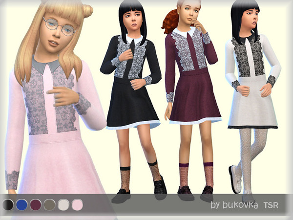 Sims 4 Dress Lace for girls by bukovka at TSR